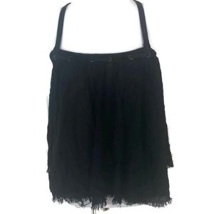 Free People Black Sleeveless Tiered Top Size M